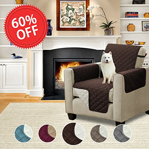 Luxury Reversible Plush Furniture Protector Soft and Suede-Like Finish Crafted Sofa Protector / Slipcovers with Elastic Straps, 75 inch X 65 inch (Chair - Brown/Beige) - by H.Versailtex (Chair Suede Polyester)