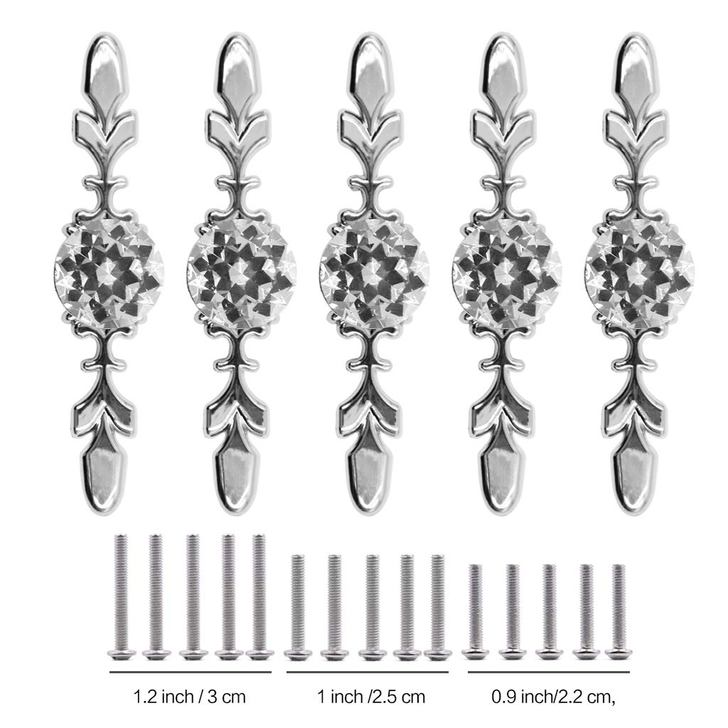 Fvstar 10pcs Cabinet Handles Crystal Glass Drawer Pull Diamond Dresser Knobs with Plate and Screws,Cupboard Wardrobe Handles for Living Room Kitchen Bedroom by Fvstar (Image #4)