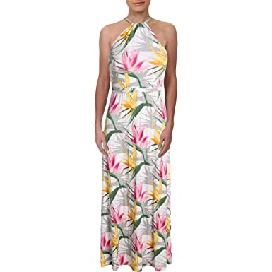 b51ac8f4d8a Tommy Bahama Womens Notorious B.O.P. Halter Floral Print Maxi Dress White  XXS at Amazon Women s Clothing store