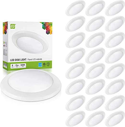 ASD 24 Pack 6 Inch LED Disk Light, Dimmable Low Profile Ceiling Light, White Finish Flush Mount Fixture, 15W(100W Eq.), 1300 Lm, 5000K, J-Box or Recessed Can, Wet Location, ETL&Energy Star
