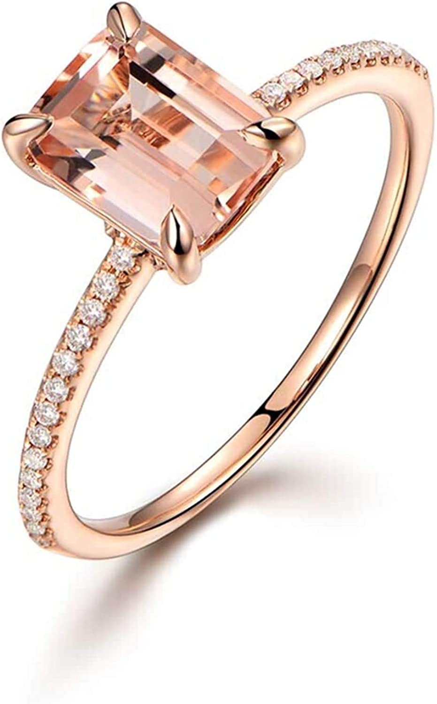 AueDsa Anillo de Mujer Oro Rosa Anillos Oro Rosa 18K Mujer Rectangular Morganita Champán 1.35ct Diamante 0.18ct Talla 6,75-25