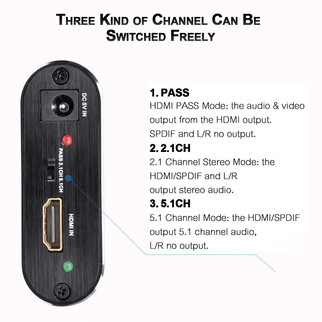 Iseebiz 4K HDMI Audio Splitter HDMI zu HDMI SPDIF 3.5mm Stereo Audio Splitter HDMI Audio Extractor Audio Konverter Converter Adapter Support ARC Function