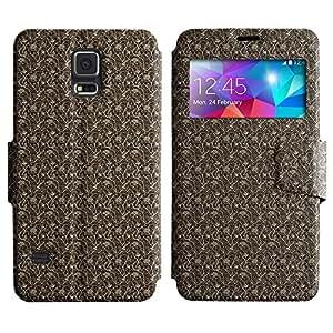 LEOCASE patrón oscuro Funda Carcasa Cuero Tapa Case Para Samsung Galaxy S5 I9600 No.1003318