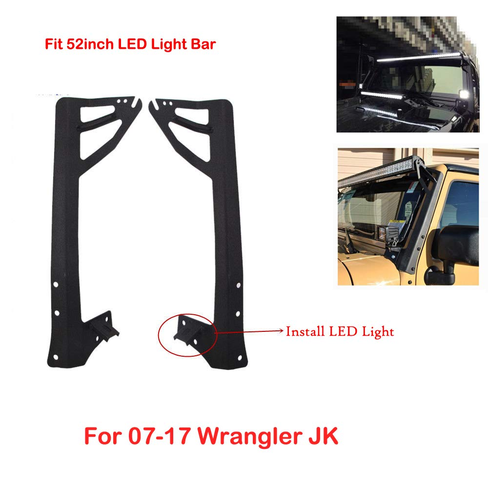 SXMA Upper Windshield Brackets Kit Staffa di Montaggio a Colonna per 07-17 Wrangler JK Barra Luminosa a LED da 52 Pollici J132
