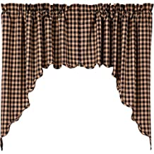 VHC Brands Black Check Scalloped Swag Set of 2 36x36x16
