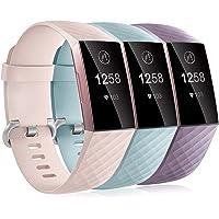 Dirrelo 3 Pack Bandjes Compatibel met Fitbit Charge 3/Fitbit Charge 4 voor Dames en Heren, Zachte Siliconen Verstelbare…