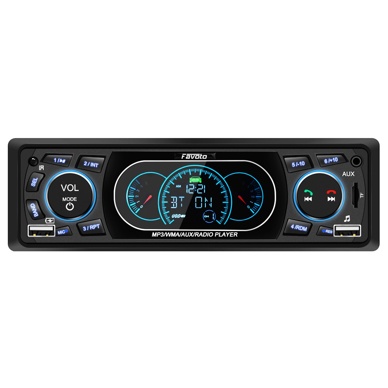 Favoto Car Stereo Receiver Blueooth in-Dash Head Unit Single Din Car Radio MP3 Player Digital Media Receivers Handsfree Call USB TF FM AUX DC 12V Wireless Remote