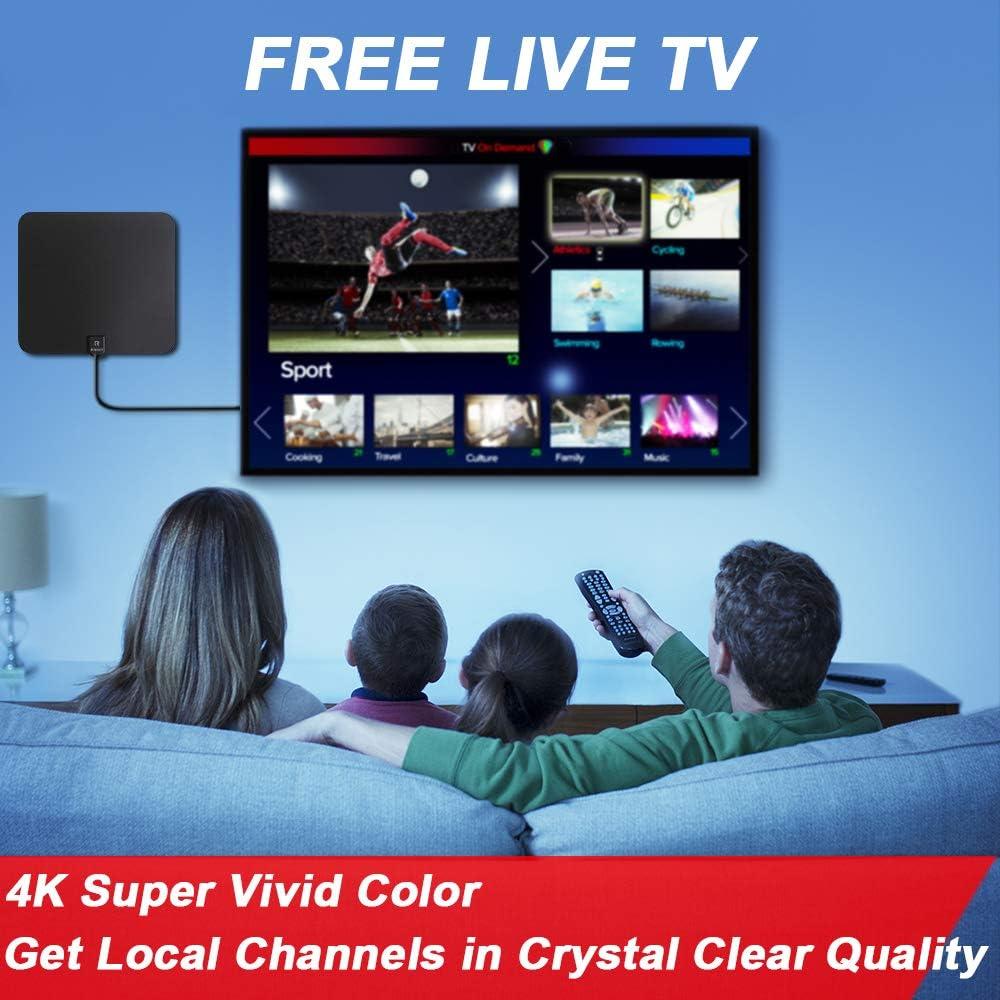 2019 Ultimateest] Antena HDTV, Antena Areson Digital Amplified Interior, Skywire HDTV, HD 85-110 Miles de rango con amplificador de señal 4K 1080P HD VHF UHF Freeview TV Antena USB adaptador de alimentación,