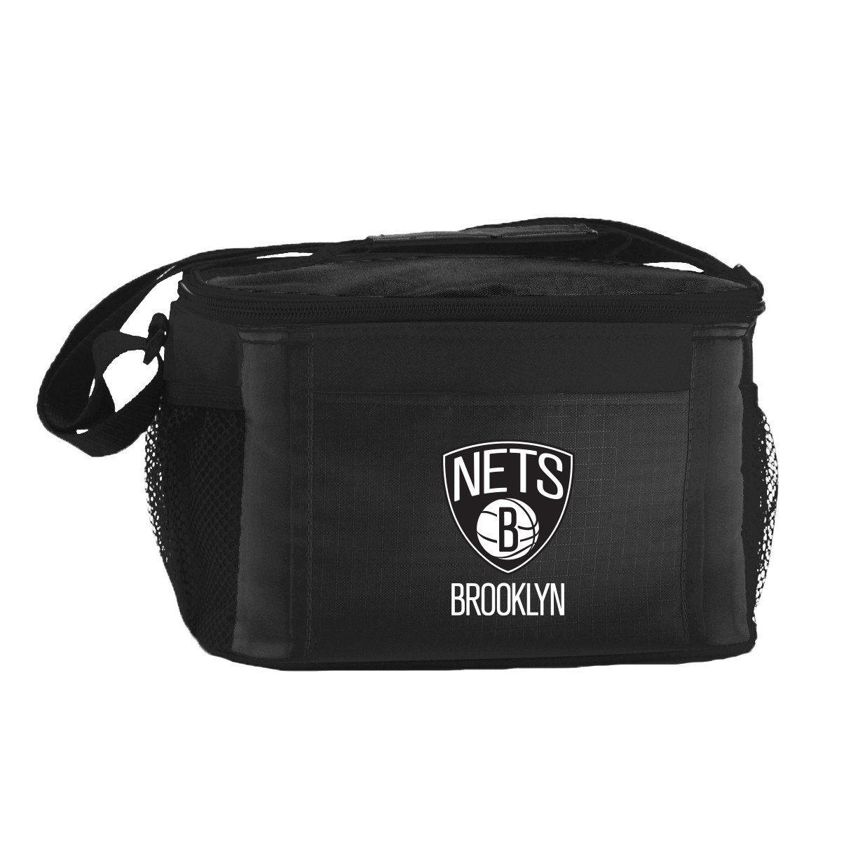 NBA Brooklyn Nets Insulated Lunch Cooler Bag with Zipper Closure, Black