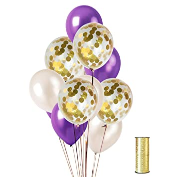 Amazon Kumeed 12 White Dark Purple Gold Confetti Balloons