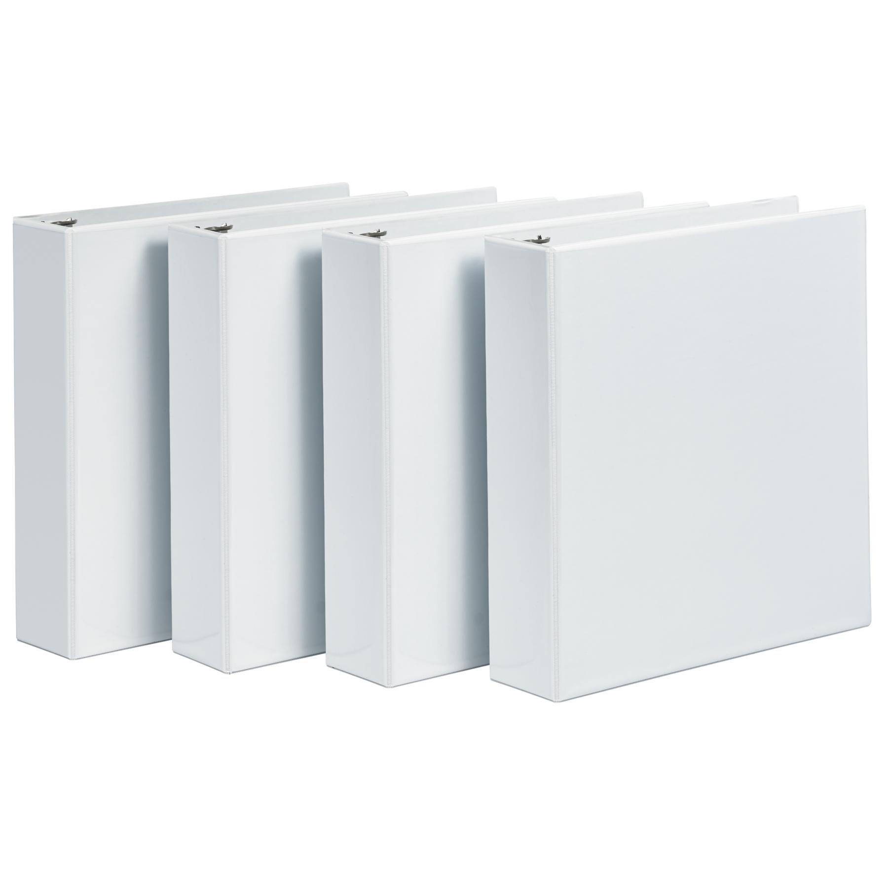 Avery Economy View Binders, 3'' Round Rings, 460-Sheet Capacity, White, Multi Pack of 4 (03360)