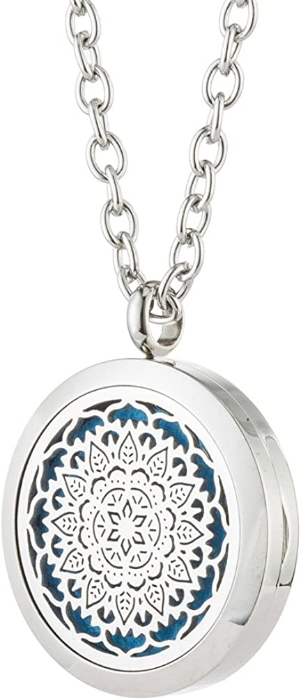 Jenia Essential Oil Diffuser Necklace Aromatherapy Pendant Stainless Steel Locket Fragrance Jewelry for Women, Sister, Wife