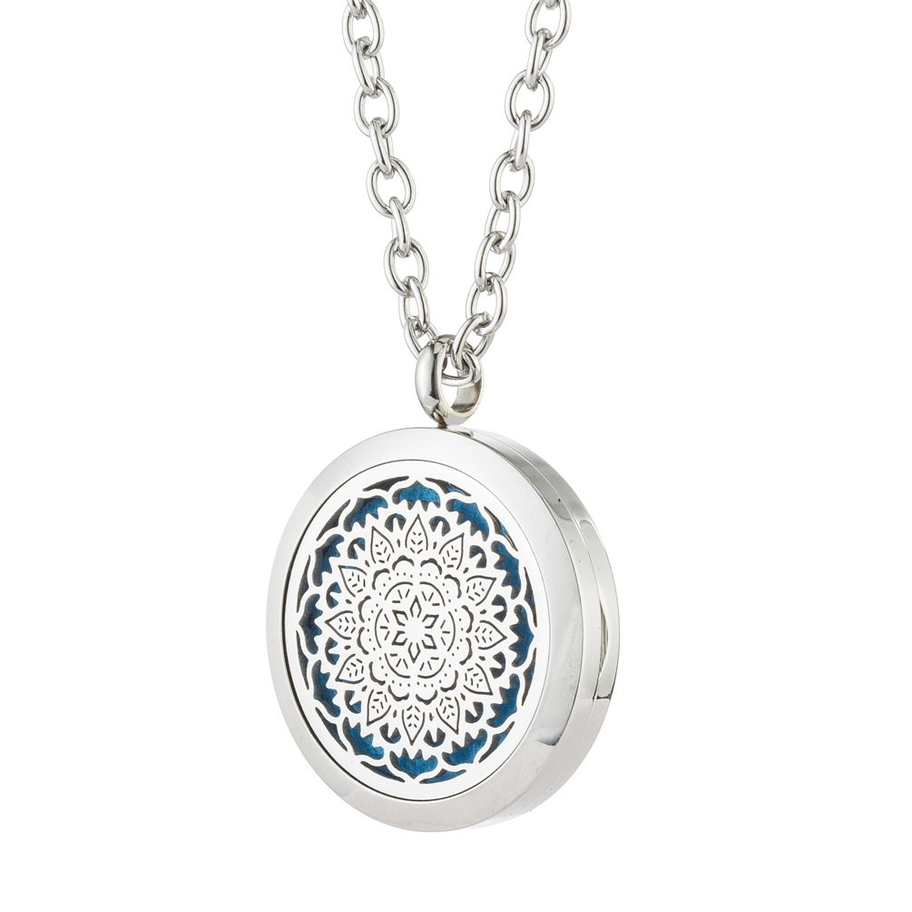 Flower Fragrance Essential Oil Diffuser Necklace - 316L Hypoallergenic Stainless Steel Aromatherapy Locket Pendant - for Women, Girl Gift By Jenia