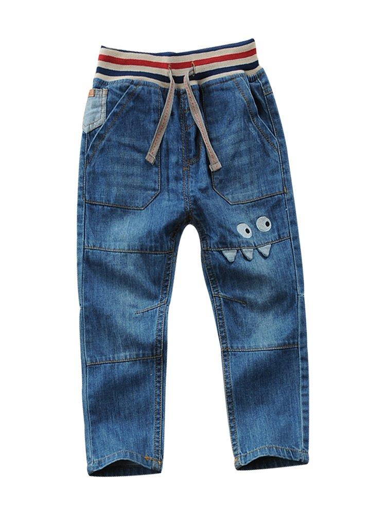 LISUEYNE Baby Boy Summer Spring Casual Blue Jean Long Holey Ripped Jeans Elastic Band Denim Long Jeans for Boys Printed Eyes 130