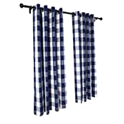 Zenfen 2 Panels Grey Lined 100% Polyester Buffalo Checker Plaid Noise Blocking Out Darkening Windows Curtains Draperies (5263, Light Blue)