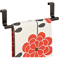 mDesign Decorative Metal Kitchen Over Cabinet Towel Bar - Hang on Inside or Outside of Doors, Storage and Display Rack…
