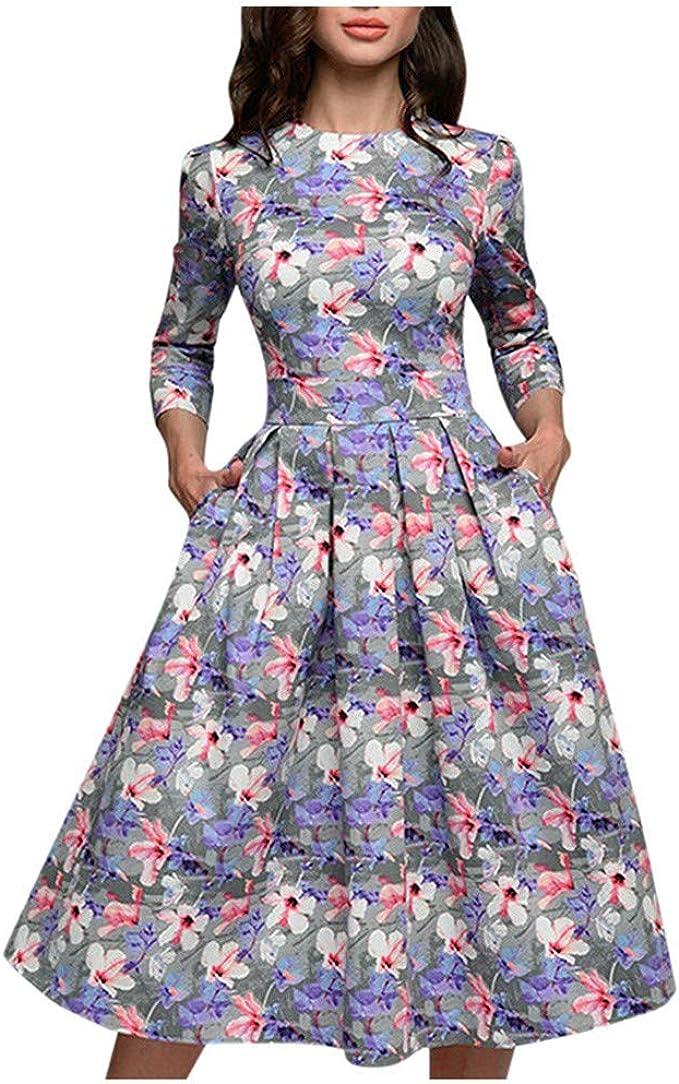 Moretime Damen Kleid Mode Langarm Cocktail Kleider Blumchenkleid Vintag Blumenkleid Lang Plissee Kleid Amazon De Bekleidung