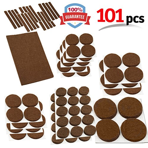 Mighty X Heavy Duty Felt Furniture Pad Protectors by iPrimio - Pack 101 Pcs, Place Under Furniture Legs, Feet, Dining Table, Couches, Vases. Protect Hardwood Floors. Protect All Surfaces. BROWN - Kitchen Leg Dining Table