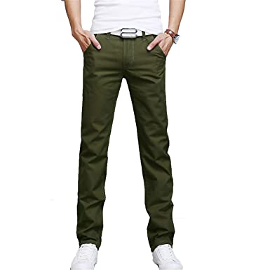 f50ed3b3ba Men Business Casual Pants Cotton Slim Straight Trousers Spring Summer Long  Pants -MX8 Army Green