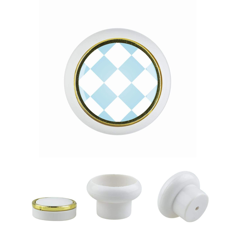 KnitPro KST06944W - Pomello universale per mobili, in plastica, misura piccola, motivo a quadri, colore: Bianco GIC GmbH
