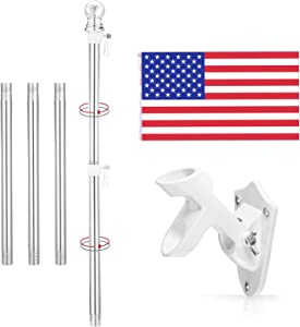Yeesun Flag Pole Kit,6 Foot American Flag Pole & Bracket-Flagpoles for 3 x 5 Flags Holder,Home Porch or Outdoor,Tangle Free and Wall Mount Metal Flag Pole with Flag (Silver)