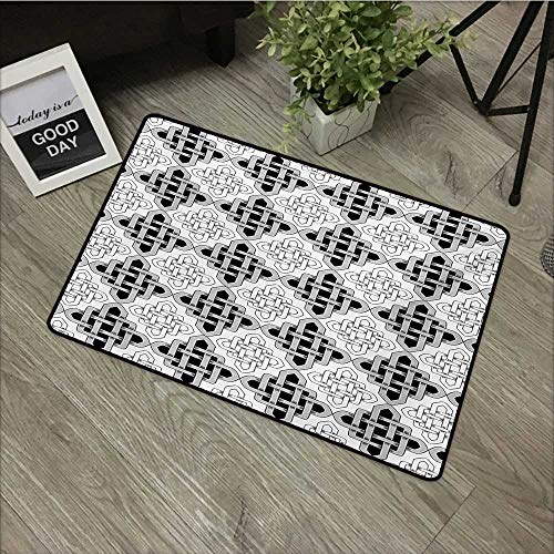 - Bathroom mat W16 x L24 INCH Celtic,Scandinavian Celtic Regular Interlace Nested Old Motif Old School Vintage Design,Grey White Easy to Clean, no Deformation, no Fading Non-Slip Door Mat Carpet