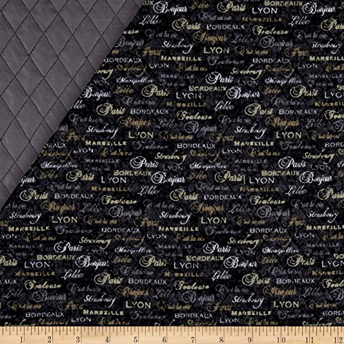 C'Est La Vie Double Sided Quilted Words Grey Fabric By The Yard