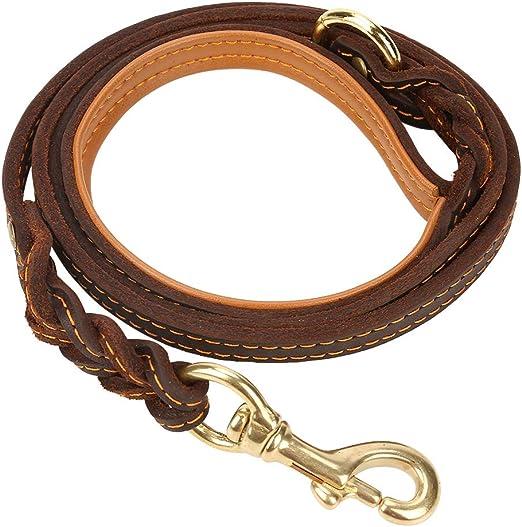 Fdit Correa de Perro Correa de Cuero para Coser Correa para Caminar Cadena para Mascotas con Bloqueo de Metal para Perros Medianos Grandes(Costura): Amazon.es: Productos para mascotas