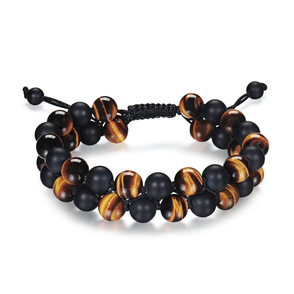 Haskare Tiger Eye Bracelet Mens Womens Natural Stones Lava Tiger Eye Beads Bracelet Adjustable 7.5''-11'', Couples