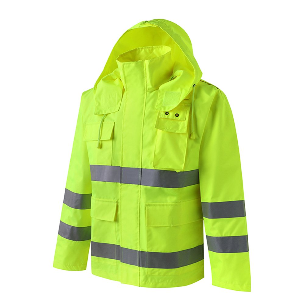 ZEMIN Regenjacke Poncho Windjacke Wasserdicht Regenponcho Regencape Jacke Abdeckung Sicher Männlich Dauerhaft Polyester, Leuchtendes Grün, 5 Größen Verfügbar (Farbe   Coat, größe   XXL)