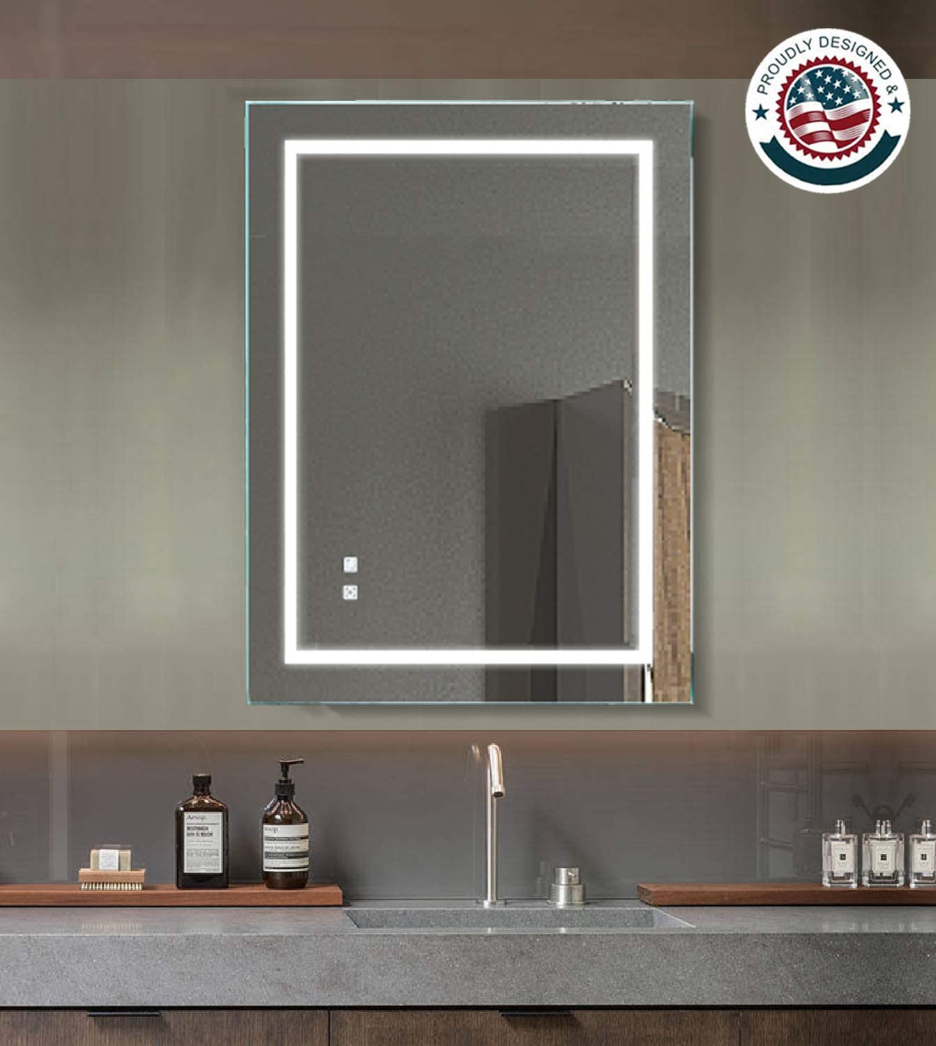 ExBrite LED Lighted Bathroom Mirror, 36 x 28 inch, Wall Mounted Illuminated Mirror, Anti fog, Dimmable, Touch Button, Slim, 90 CRI, ETL listed, Both Vertical Horizontal Mounted Way