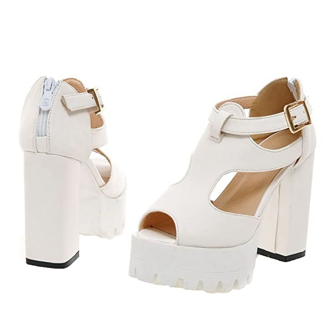 Amazon.com | Sky-Pegasus 2018 Women peep Toe high Heel Sandals Buckle Party Sexy Platform Fashion Heels Sandal Size 32-43, 4, 4 | Heeled Sandals