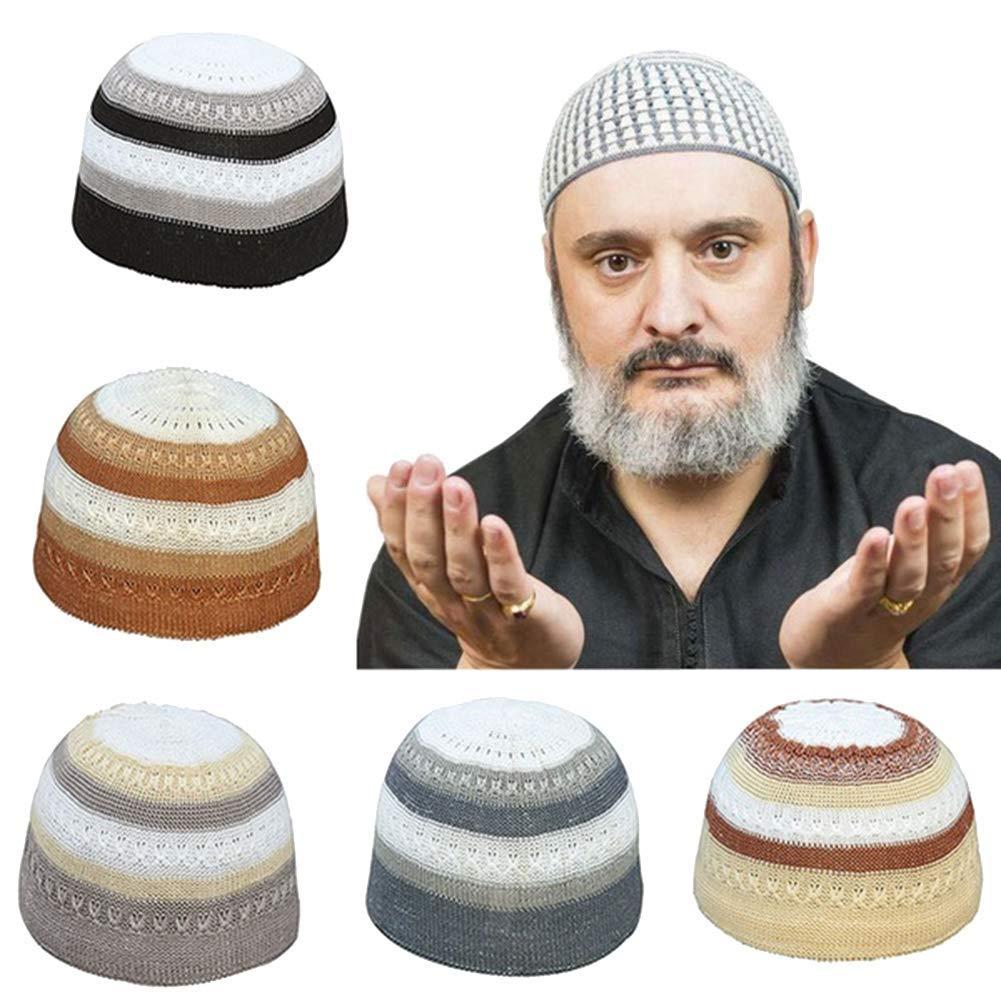 Ogquaton Hommes musulman islamique bonnet de pri/ère couleur bloc en plein air cr/âne chapeau topi bonnet coiffures durable et utile