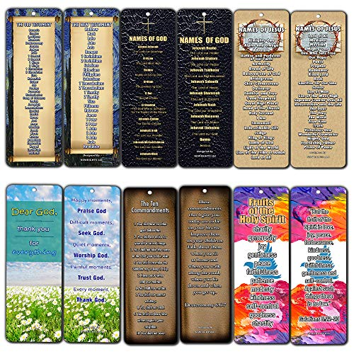 Christian Bookmarks - Books of The Bible Bookmarks Cards (30-Pack) - Ten Commandments - Names of God & Jesus - Fruits of The Spirit (Give Me One Of The 10 Commandments)