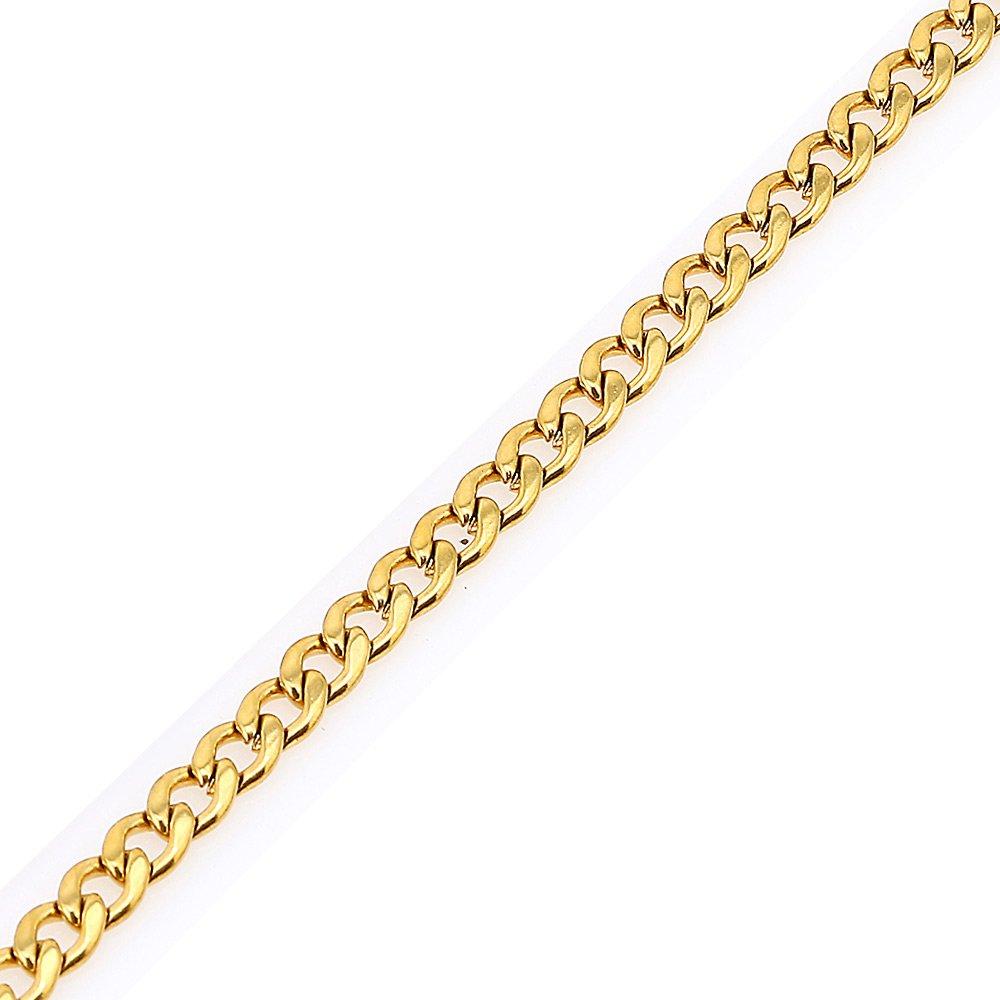 DonDon Collana uomo in acciaio inox con catena colore oro //// disponibile in diverse misure