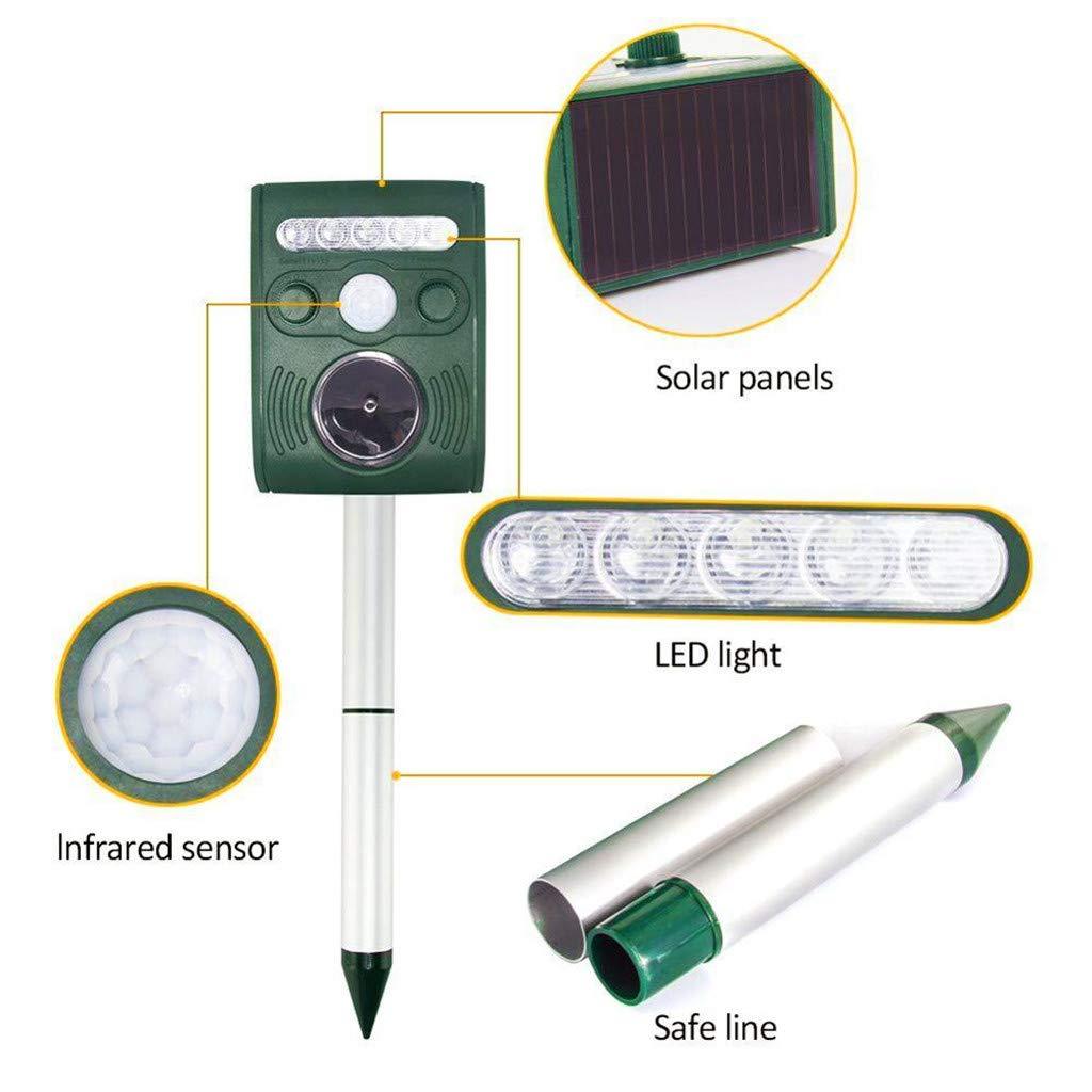 Ultrasonic Pest Repeller Ecológico Disipador acústico con energía Solar, Repelente de Mole, Gopher, Serpiente, Vole Chaser para jardín al Aire Libre: ...