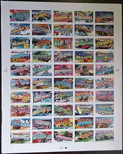 Amazon greetings from america full sheet of 50 37 cent state greetings from america full sheet of 50 37 cent state stamps usa 2002 m4hsunfo