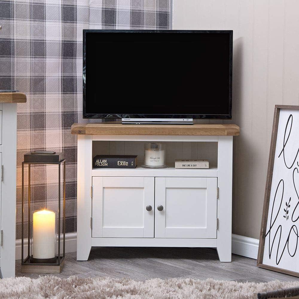 The Furniture Outlet Hampshire White Painted Oak Corner TV Unit