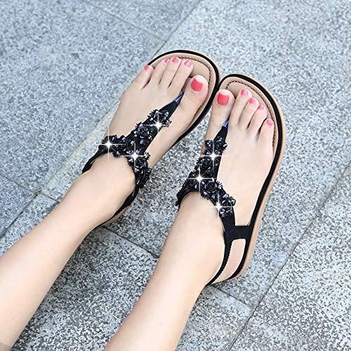 Nero Toe Nero Clip EU 38 Dimensione Shoes Ellip Bohemian Flat Sandali ZHRUI Colore Beaded Donna Slip on 1ca7fqF