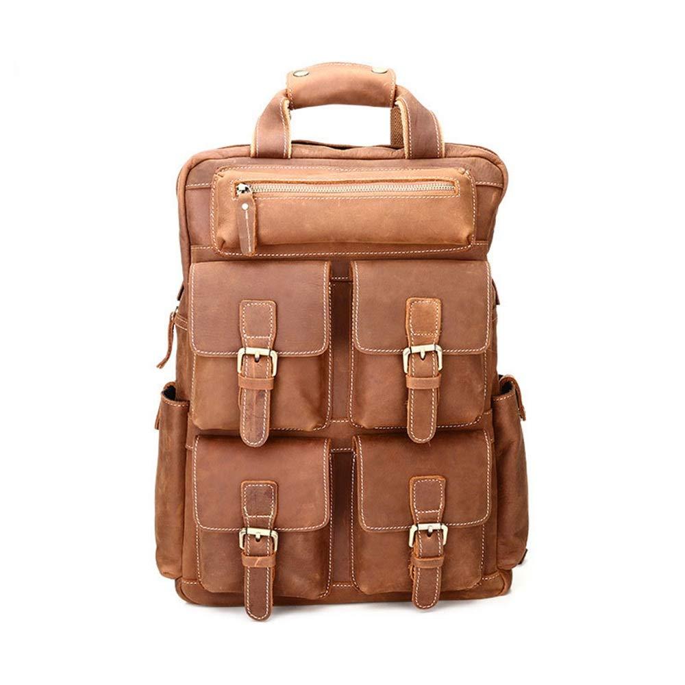 Leisure Sports Mens Backpack Multi-Pocket Genuine Leather Daypack Waterproof Zipper Vintage Outdoor Travel Business Large Capacity Portable Backpack