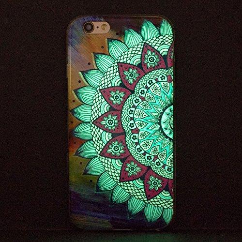 Funda iPhone 6S Plus, Carcasa iPhone 6 Plus, CaseLover Noctilucent Luminous TPU Silicona Carcasa para iPhone 6 Plus / 6S Plus Ultra Delgado Suave Fluorescente Parachoques Tapa Efecto Verde Brillo Noct Mandala