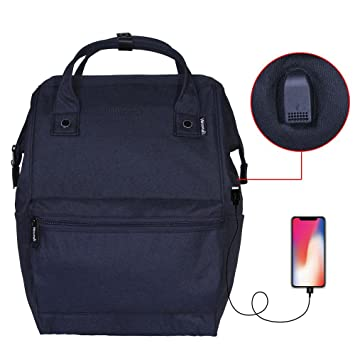 bf42611fc9 Amazon.com  Himawari Polyester Backpack Unisex Vintage School Bag Fits  13-inch laptop Scrub Navy-USB  Himawari Backpack