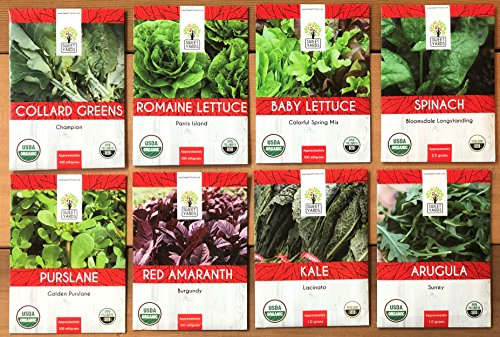 Organic Healthy Greens Seeds Variety Pack - Eight Varieties of Heirloom, Open Pollinated and Non GMO Leafy Green Seeds - Kale, Lettuce, Collard Greens, Arugula, Spinach and More! by Sweet Yards