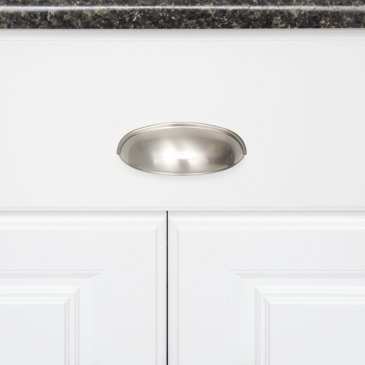 orificio central de 7,62/cm forma de tapa Basics 10,49 cm de longitud paquete de 10 plata envejecida Tirador moderno