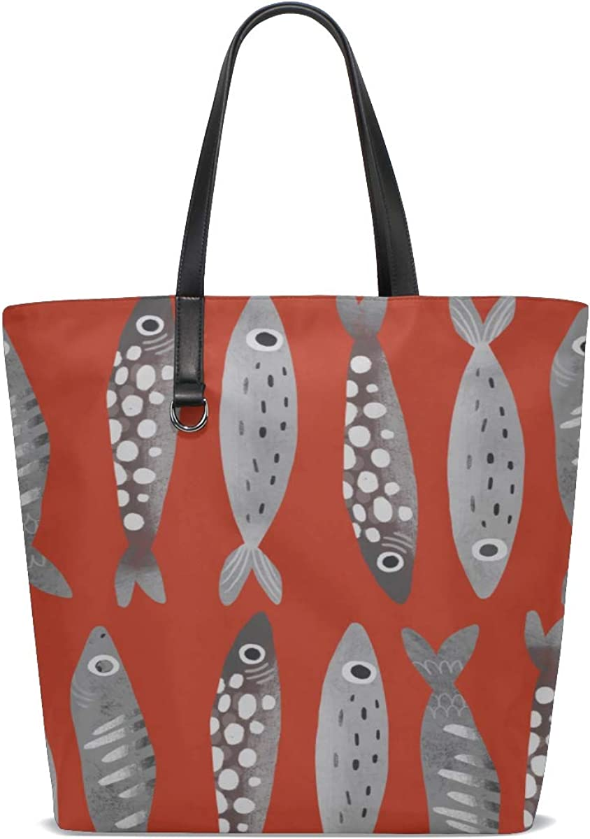 Men Leather Shoulder Bag Handle Satchel Shopping Tote Bag Purse Messenger Bags Tote Girls Sea Creatures Ornamental Fish Squid Printing Tote With Pockets