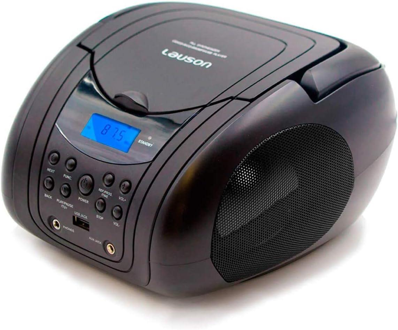 Lauson CP441 Radio Reproductor y Lector CD / MP3 | Boombox con Radio FM/PLL Estéreo Portátil | Lector USB para Memorias USB con Música MP3 | Pantalla LCD y Sintonizador Digital | CD-Player (Negro)