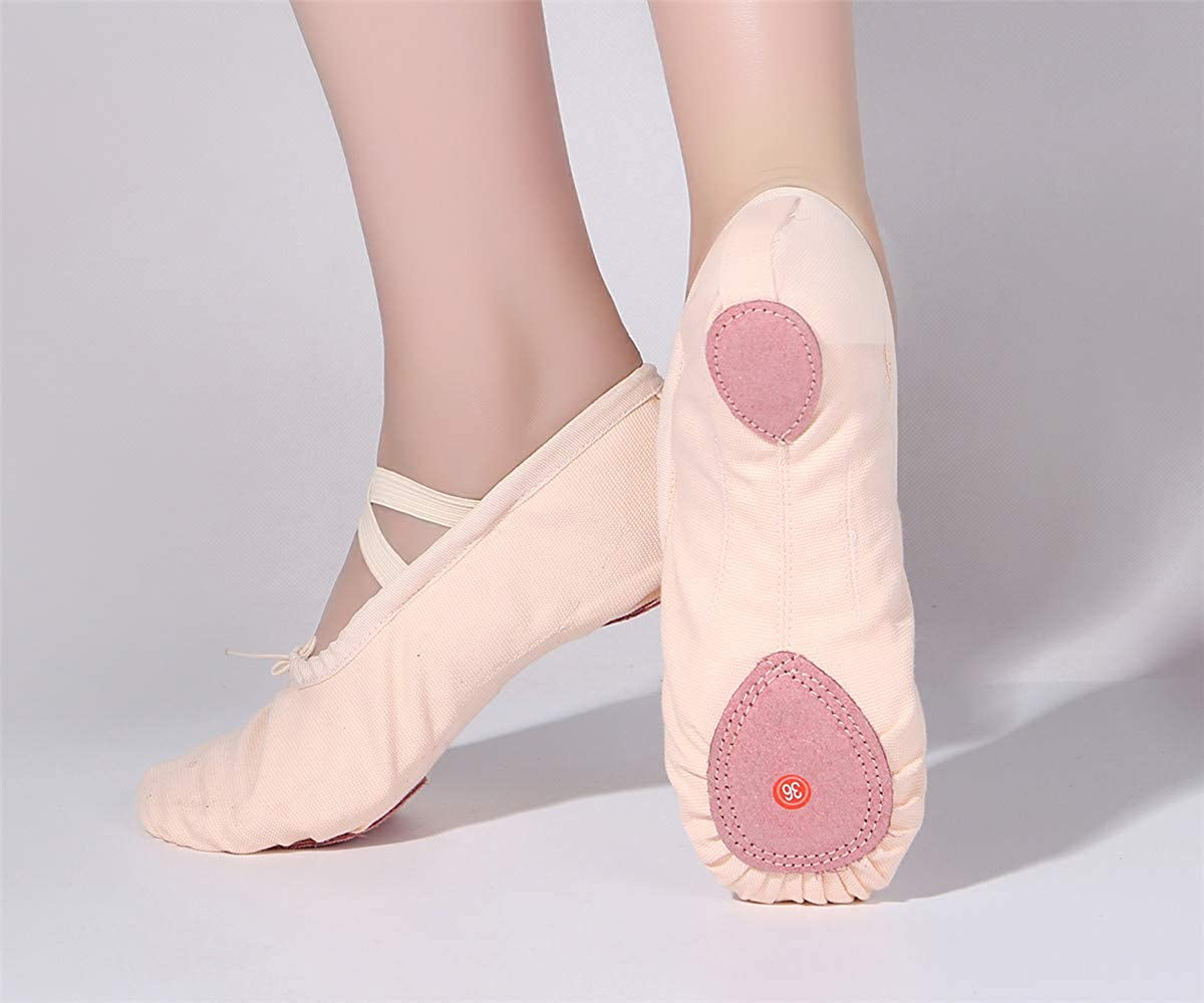 staychicfashion Girls Canvas Split-Sole Ballet Slippers Practice Dancing Yoga Flat Shoes