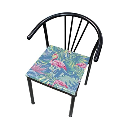 "HNTGHX Outdoor/Indoor Chair Cushion Flamingo Banana Leaf Painting Square Memory Foam Seat Pads Cushion for Patio Dining, 16"" x 16"": Home & Kitchen"