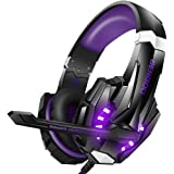 BENGOO Stereo Gaming Headset for PS4, PC, Xbox One Controller, Noise Cancelling Over Ear Headphones Mic, LED Light, Bass Surround, Soft Memory Earmuffs for Laptop Mac Nintendo Switch Games - Purple