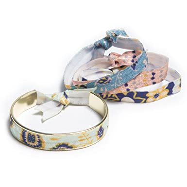 BANDED- Narrow Hair Tie Cuff Bracelet with Hair Ties (Gold Royal Linens) b6e0288bf45